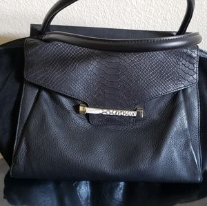 Vince camuto  black trapeze suede and leather bag
